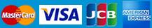 使用可能カード:MasterCard、VISA、JCB、AMERICAN EXPRESS